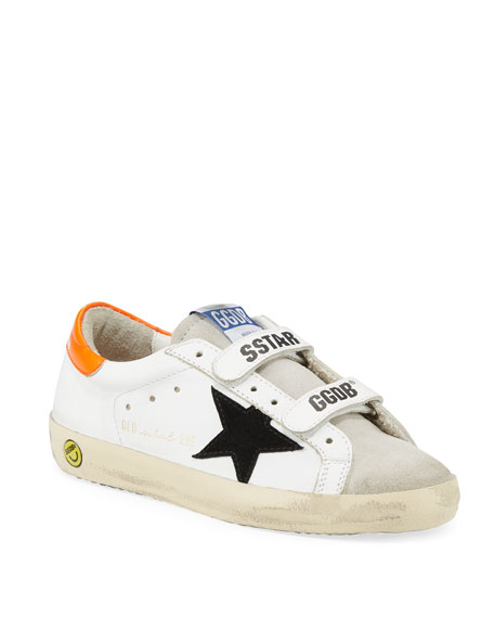 Boy's Old School Leather Sneakers, Toddler/Kids