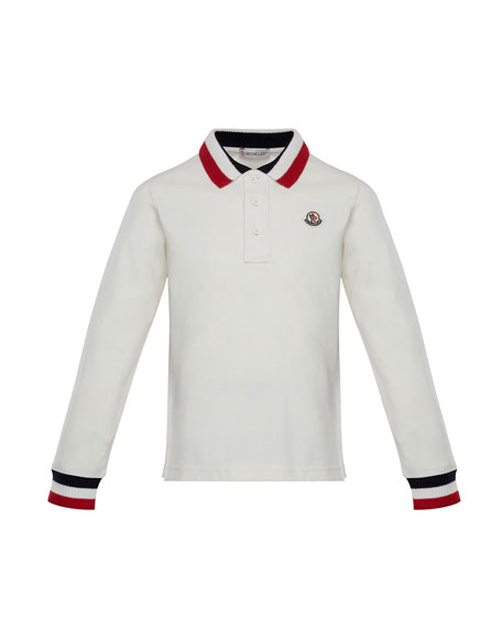 Long-Sleeve Polo Half-Button Shirt, Size 8-14