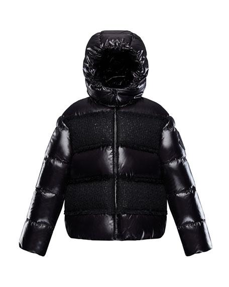 Elbe Detachable-Hood Puffer Coat w/ Tweed, Size 8-14