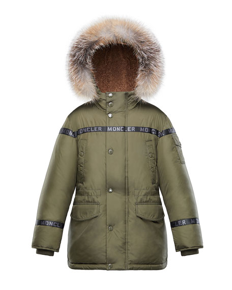 Image 1 of 1: Boys' Hooded Coat w/ Fox Fur Trim, Size 4-6
