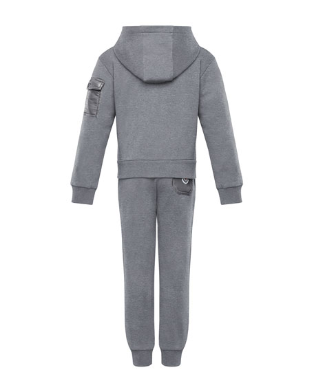 Tricolor-Zip Hoodie w/ Matching Sweatpants, Size 4-6
