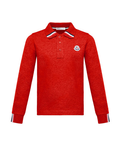 Long-Sleeve Polo Half-Button Shirt  Red  Size 4-6