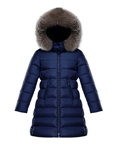 Abelle Long Quilted Puffer Coat w/ Fur Trim  Size 4-6