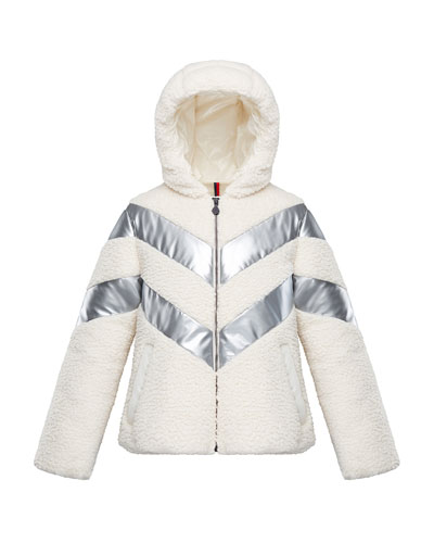 Cabourg Chevron-Striped Hooded Coat  Size 4-6