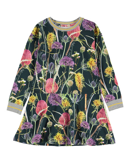 Girl's Conny Long-Sleeve Floral Print Dress, Size 2T-12