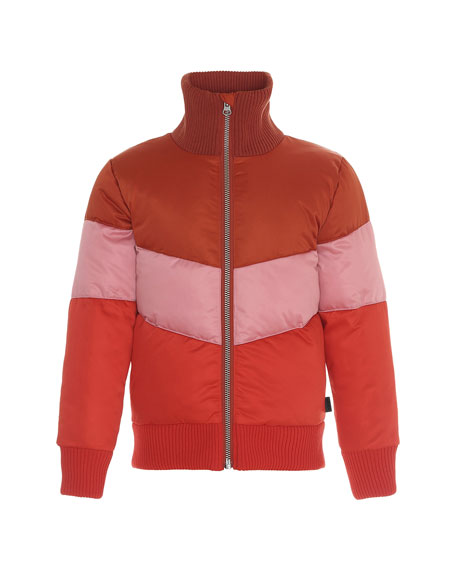 Image 1 of 1: Girl's Hedia Water-Repellant Colorblock Puffer Bomber Jacket, Size 4-16