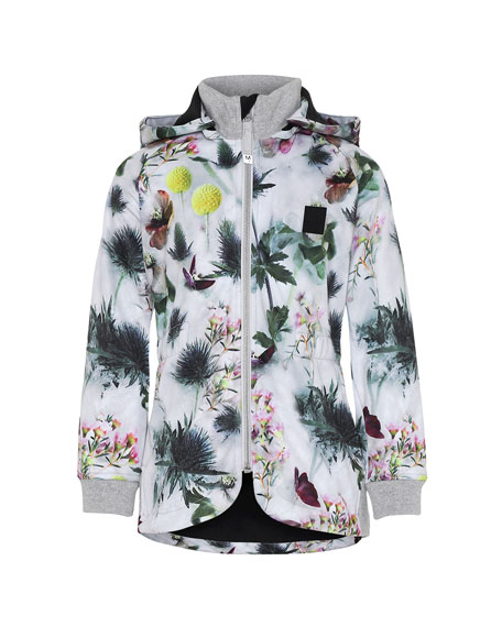 Image 1 of 1: Girl's Hillary Floral Print Waterproof Soft Shell Hooded Jacket, Size 4-12