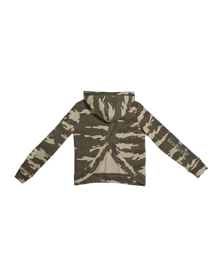 Girl's Camo Cross-Back Studded Pullover Hoodie Sweatshirt, Size S-XL