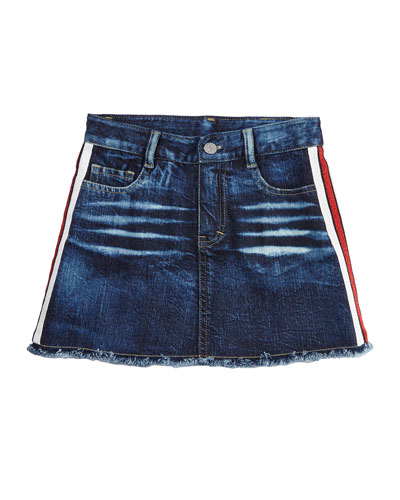 Girl's Denim Raw Edge Skirt w/ Metallic Taping  Size S-XL