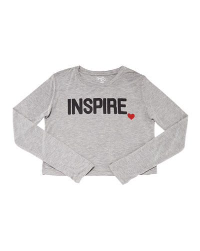Girl's Inspire Heart Long-Sleeve Cropped Tee  Size S-XL