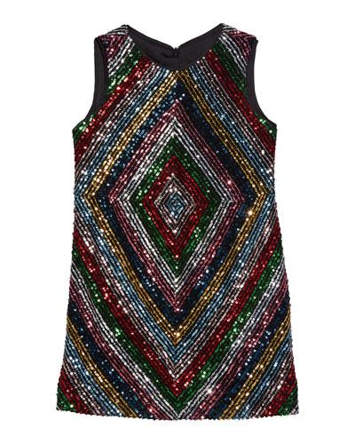 Girl's Rainbow Stripe Sequin Mitered Dress  Size 4-6