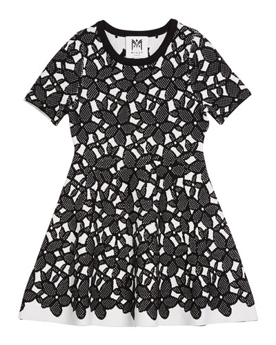 Floral-Mesh Jacquard Short-Sleeve Dress  Size 7-16