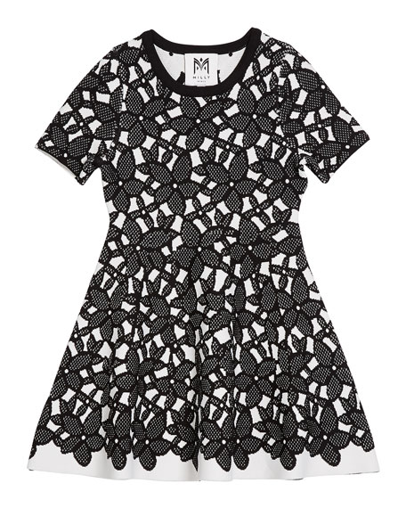 Floral-Mesh Jacquard Short-Sleeve Dress, Size 7-16