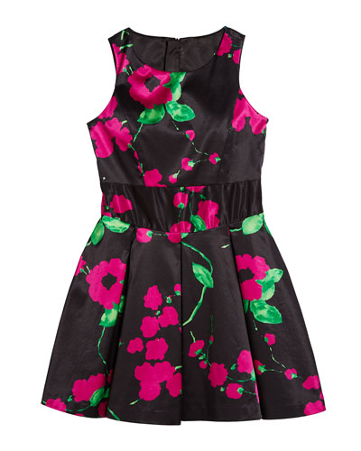 Painted Floral Scoop-Neck Sleeveless Dress  Size 7-16