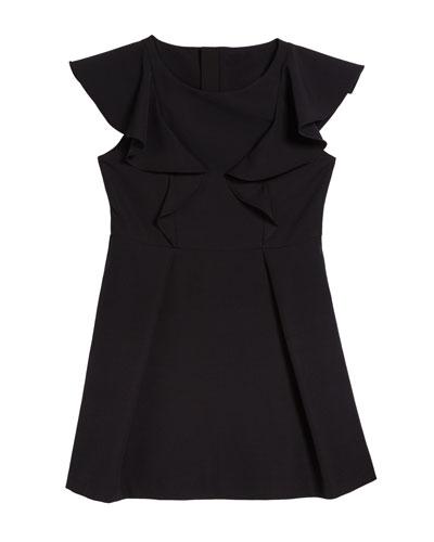 Short-Sleeve Ponte Ruffle Dress  Size 7-16