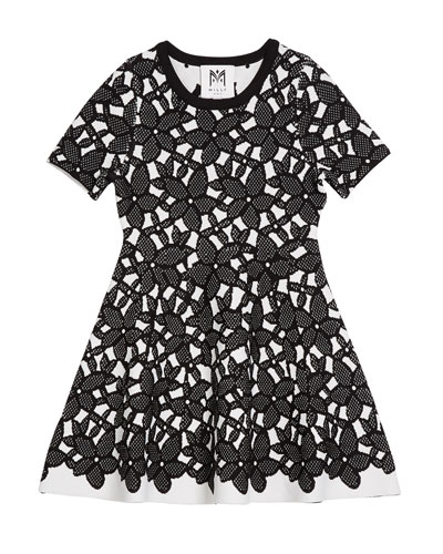 Floral-Mesh Jacquard Short-Sleeve Dress  Size 4-6