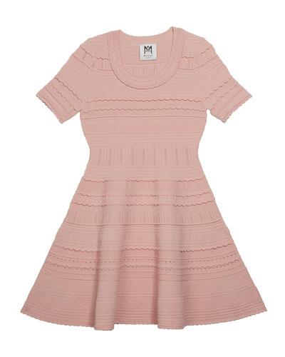 Girl's Textured Tech Flare Dress  Size 4-6