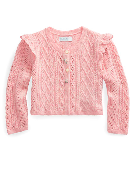 Pointelle Button-Front Sweater, Size 6-24 Months