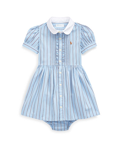 Striped Button-Up Dress w/ Bloomers  Size 6-24 Months
