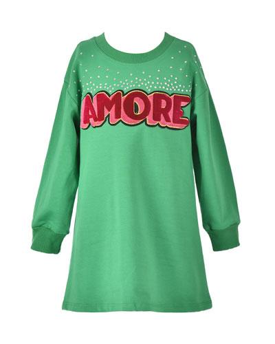 Girl's Amore Long-Sleeve T-Shirt Dress  Size 4-6X