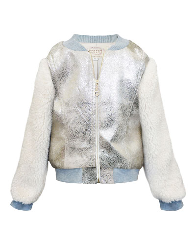 Girl's Metallic & Faux Fur Bomber Jacket  Size 7-14