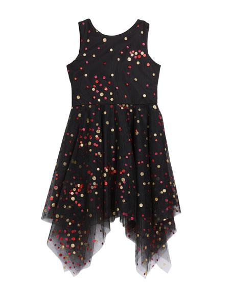 Girl's Dara Metallic Dot Print Mesh Dress, Size 7-16