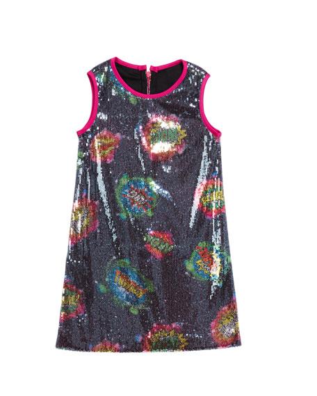 Girl's Super Girl Cosmic Print Sequin Shift Dress, Size 7-16