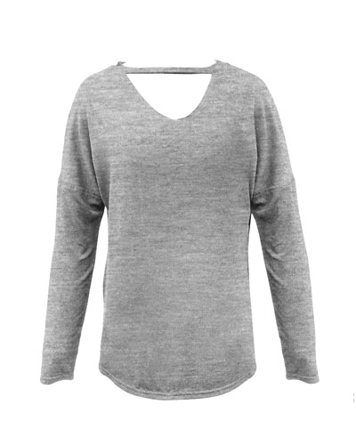 Girl's Heathered V Cutout Top  Size S-XL