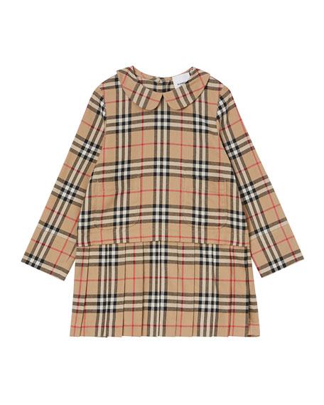 Girl's Melania Flannel Check Dress, Size 3-14