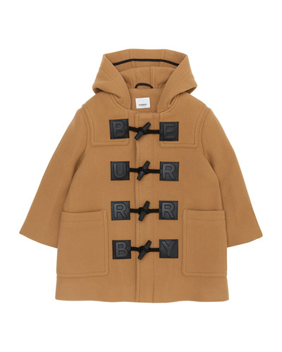 Girl's Braydon Duffel Coat w/ Leather Logo Patches  Size 4-14