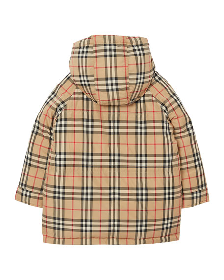 Girl's Jamir Check Puffer Coat, Size 3-14