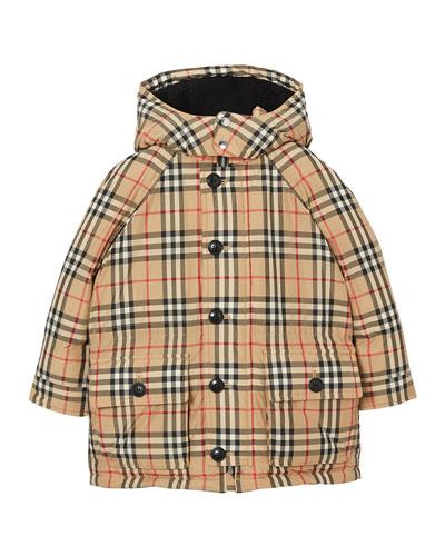 Girl's Jamir Check Puffer Coat  Size 3-14