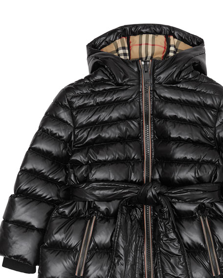 Girl's Sharona Long Puffer Coat, Size 3-14