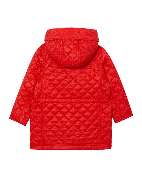 Boy's Trey Long Quilted Hooded Coat, Size 3-14