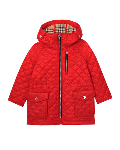 Boy's Trey Long Quilted Hooded Coat  Size 3-14