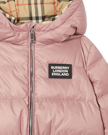 Girl's Check Reversible Puffer Coat, Size 6M-2