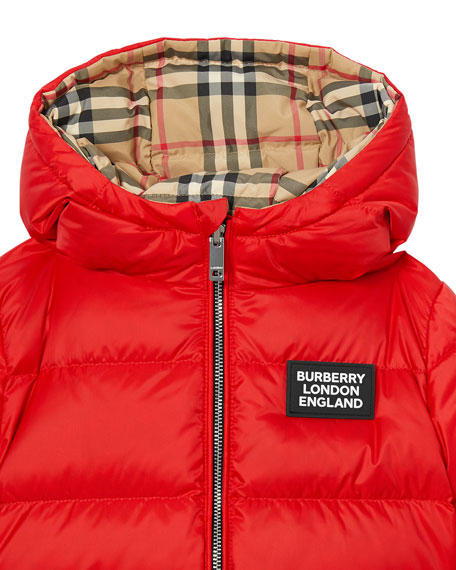 Girl's Rayon Check Reversible Puffer Coat, Size 6M-2