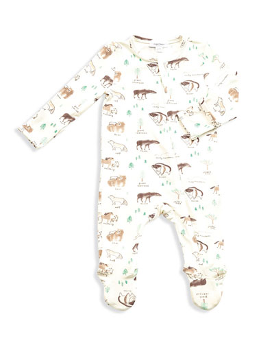 West Wild Print Zipper Footie Pajamas  Size Newborn-9 Months