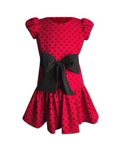 Girl's Polka-Dot Bow Dress  Size 2-6