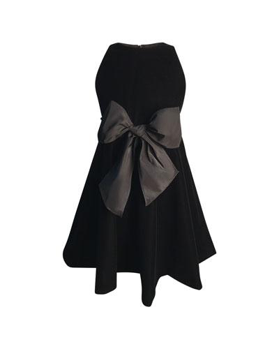 Girl's Sleeveless Velvet Bow Dress  Size 2-6