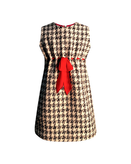 Girl's Houndstooth Sleeveless Belted Dress, Size 7-14