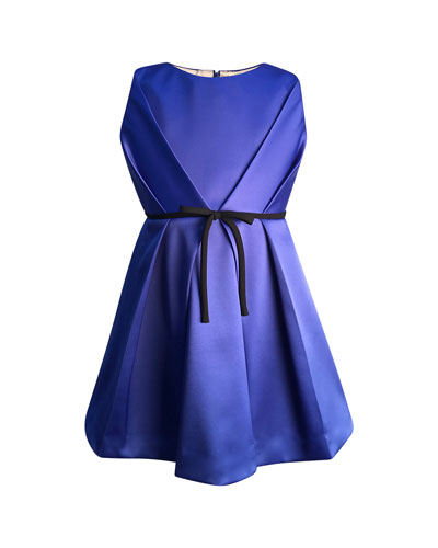 Girl's Bright Royal Satin Pleated Dress  Size 2-6