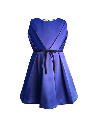 Girl's Bright Royal Satin Pleated Dress  Size 7-14