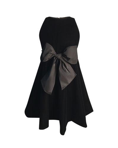 Girl's Sleeveless Velvet Bow Dress  Size 7-14