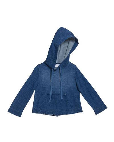 Girl's Cropped Frayed Hoodie Sweatshirt  Size 8-14