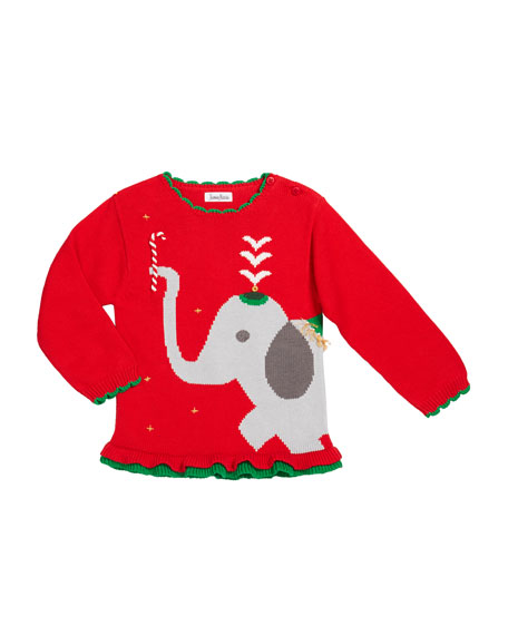 Girl's Elephant Intarsia Sweater, Size 12M-7