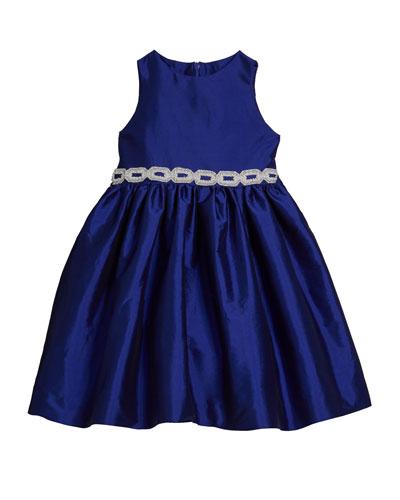 Girl's Matte Sateen Dress w/ Beaded Waist Trim  Size 12M-3