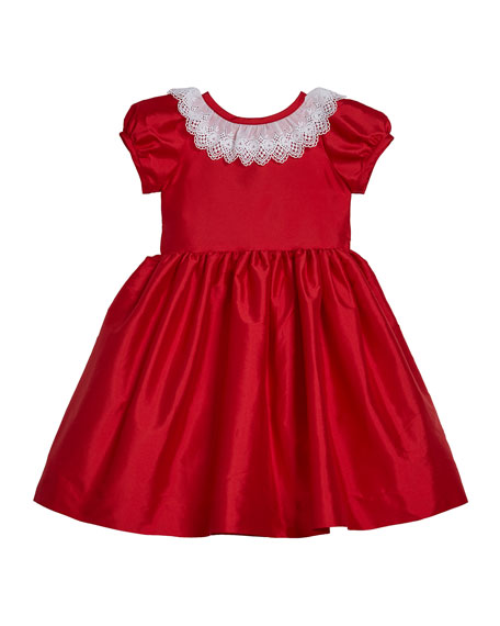 Girl's Matte Sateen Dress with Lace Collar, Size 12M-3