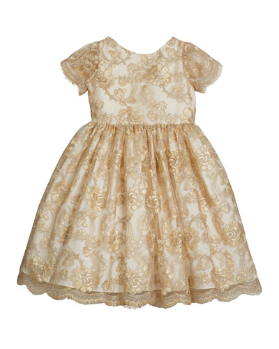 Girl's Floral Lace Short-Sleeve Fit-&-Flare Dress  Size 12M-3