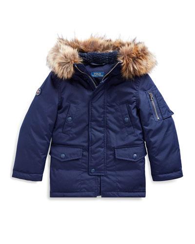 Boy's Military Parka Jacket w/ Faux Fur Trim  Size 2-4